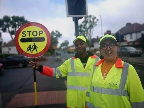 School crossing patrols Paul Mullings and Megan Powell