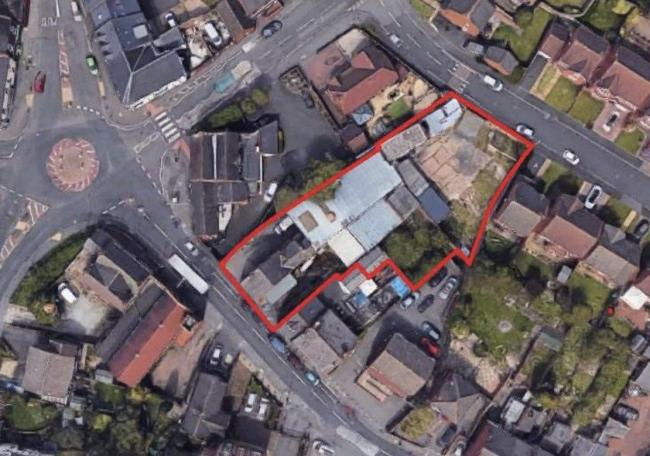 An aerial view of the former butchers site on Lake Street, Lower Gornal
