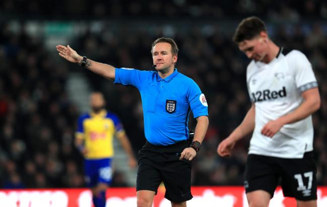 Match referee Oliver Langford. Photo: PA Images
