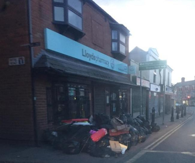Rubbish bags were found piled high outside Lloyds Pharmacy in Lye High Street on Sunday August 18
