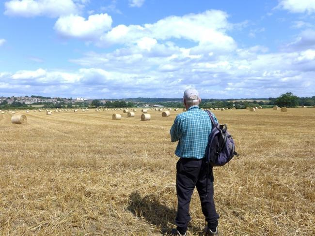 Roy Burgess looking over the proposed building site at Tack Farm.