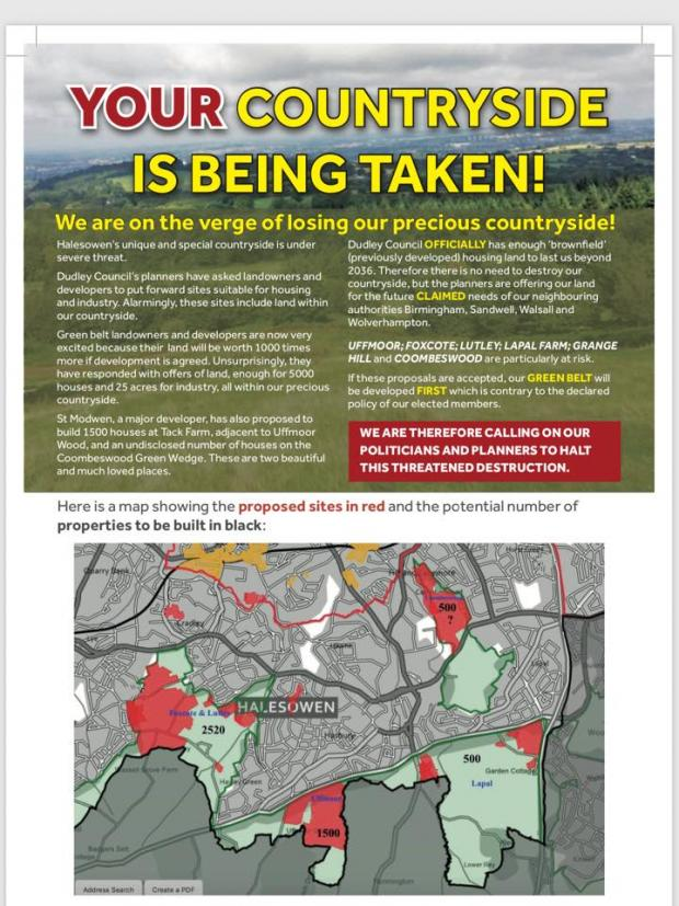 Stourbridge News: The leaflet which will be distributed by Save Halesowen's Countryside.