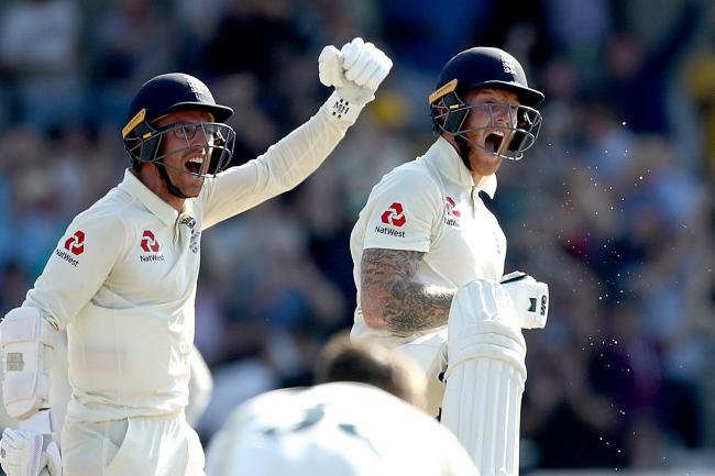Ben Stokes, right, and Jack Leach celebrate England's win at Headingley
