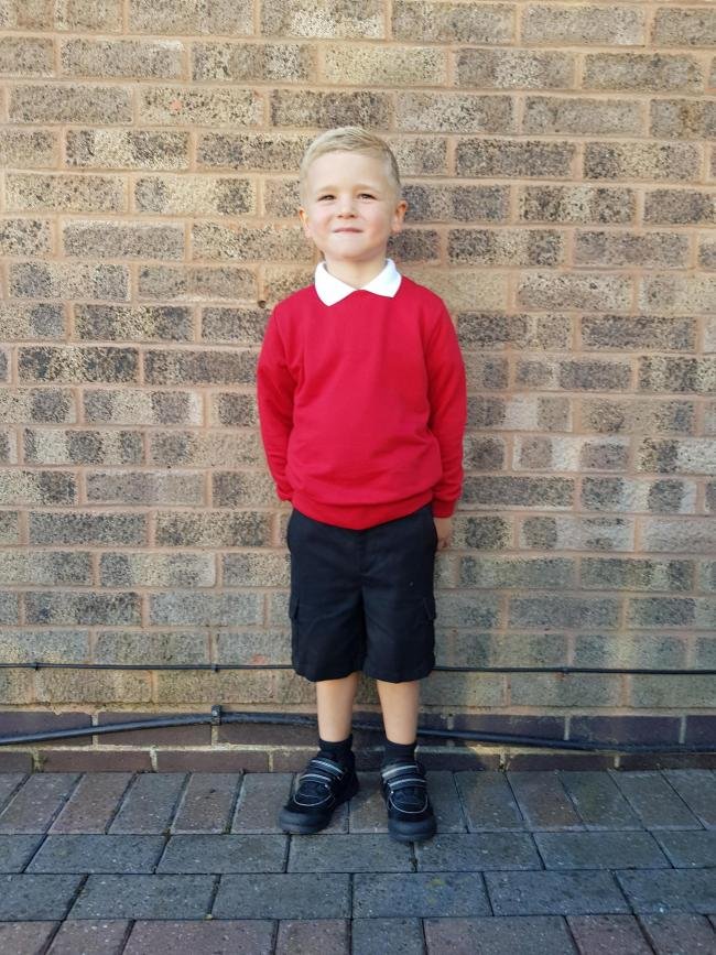 Finnley Fuller, age 5, starting Year 1 at Batchley First School