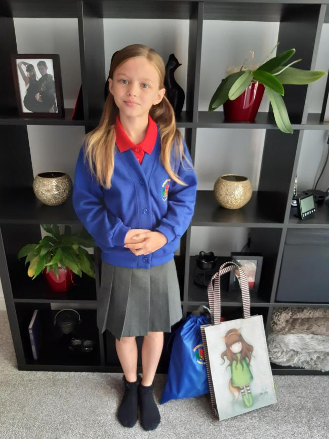 Rosalie Violet 8 years old. All ready for her first day at her new school, Holyoakes Field. Good luck Rosalie!