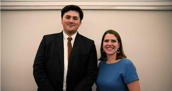 Ryan Priest with the leader of the Liberal Democrats Jo Swinson