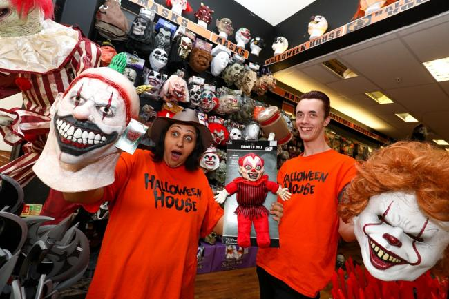 Opening of the Halloween House store at Intu Merry Hill. Pictured are Kam Cheema (Store Manager) and James Openshaw Assistant Manager. Picture by Shaun Fellows / Shine Pix Ltd