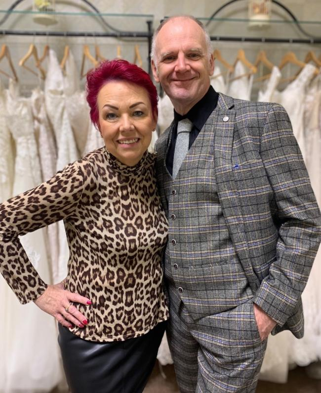 Award-winning slimmers Tracie and Paul Homer at their shop Georgina Scott Bridal.