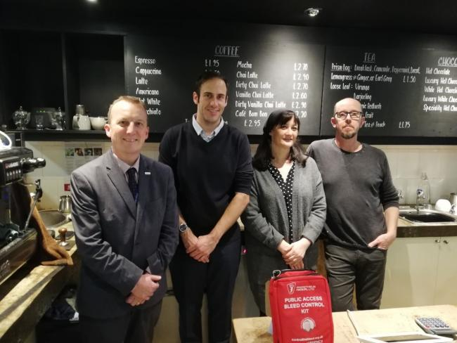 Councillor Kieran Casey at Gather in Dudley with owners Neil and Stuart and Dudley College principal Neil Thomas.