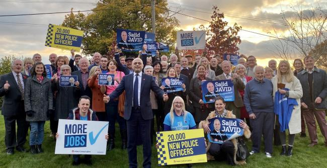 Sajid Javid launching his campaign to be re-elected as Bromsgrove's local MP