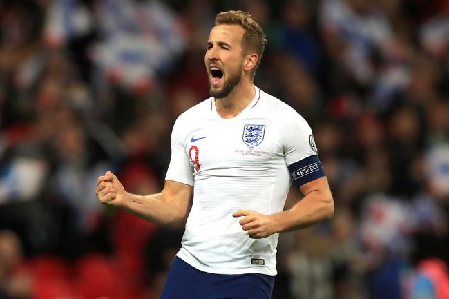 Harry Kane celebrates scoring his third goal and England's fifth