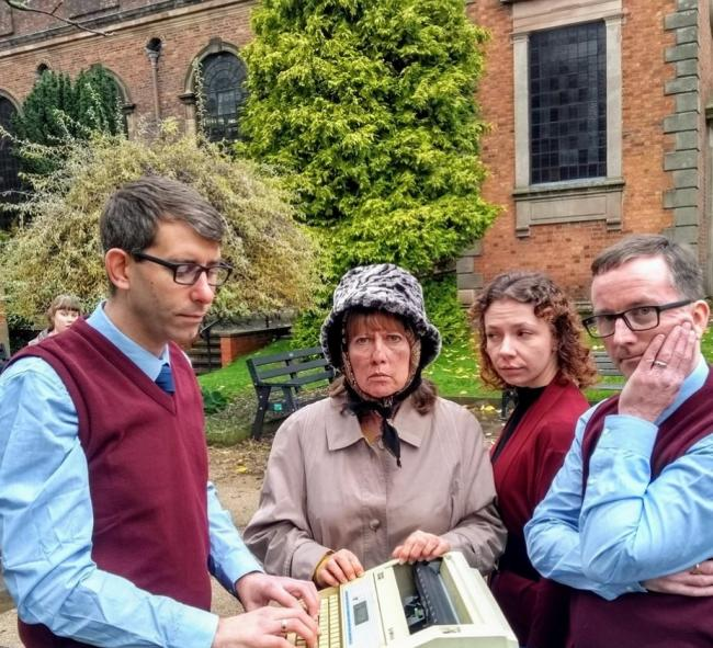 L-r - David Lavender (playing Alan Bennett 2),  Carey Esthop (playing Mary Shepherd – the Lady in the Van), Jess Skidmore (playing Pauline) and Lee Morgan-Salcombe (playing Alan Bennett 1)