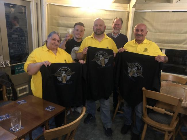 From front left: Jacqui Edwards, Karl Denning, Terry Astley. From rear left: Ryan Hunt, Bill Gladwin from Dudley and South Staffordshire CAMRA.