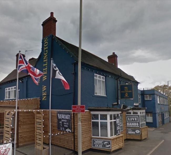 The robbery happened outside the New Wellington pub on Brettell Lane. Image: Google Maps.