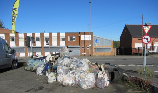 Stourbridge News: Rubbish collected during a recent litter pick in Lye