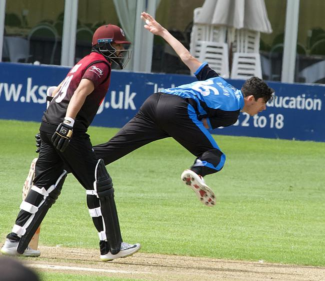 Pat Brown bowls for Worcestershire Rapids against Somerset. Picture: PAUL FRANCE/WRITE ANGLE MEDIA