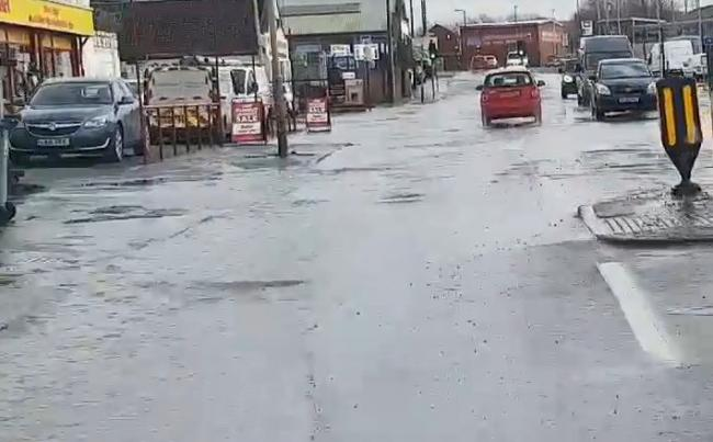 Cradley Heath has been hit by flooding. Photo: Jane Baker/Facebook