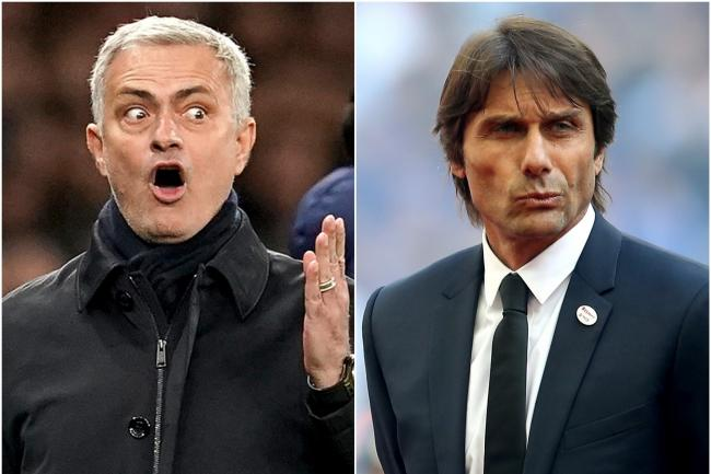 Jose Mourinho, left, is not impressed with comments made by Antonio Conte, right