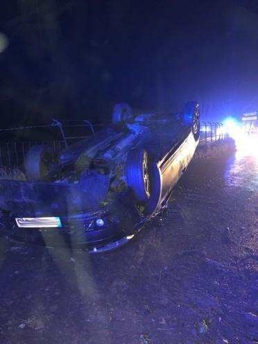 Car flipped on roof in Clent crash. PIC: @OPUWorcs