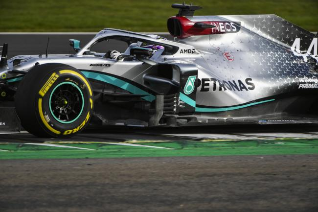 Lewis Hamilton driving the new Mercedes at Silverstone