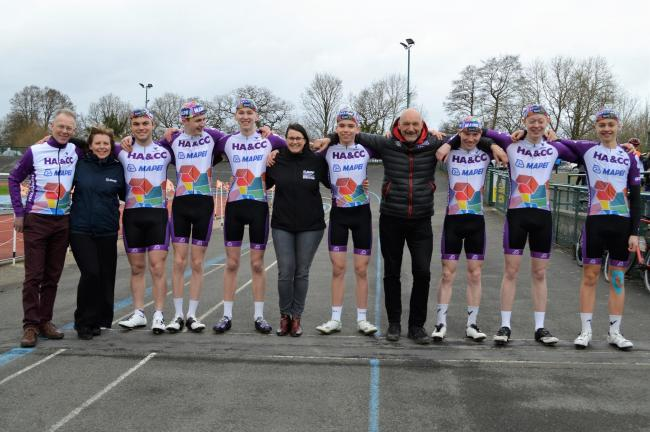Dave Viner, Sarah Ridgway (Head marketing Mapei) Patrick Fotheringham, Henry Lloyd -Langston, Oscar Leight, Charley Everiss (Marketing Mapei) David Hurd, Will Fotheringham, Simon Wyllie, Ryan Brookes, Josh Field.Picture: Mike Field