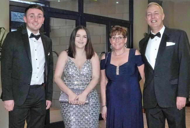 L - r - Olly's brother Ben Wilkes, organiser Jade Lane, Lynn and Simon Wilkes - Olly's mum and dad
