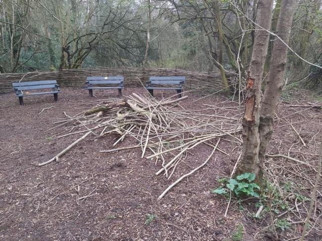 The Conversation Crescent in Alder Coppice after it had been damaged by vandals.