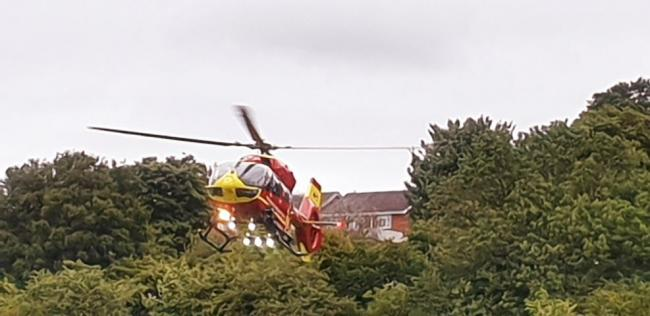 The Midlands Air Ambulance landed in Gornal after the crash was reported. Pic courtesy of Melvin Cooper