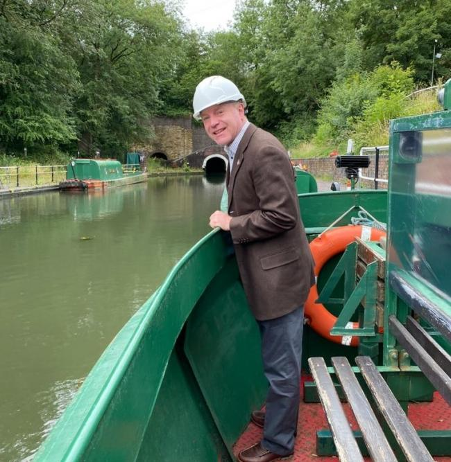 Dudley North MP Marco Longhi sets sail at the Dudley Canal and Tunnel Trust.