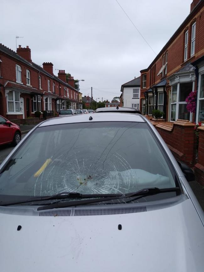 The vandal-smashed windscreen of the car parked in Clark Street in Stourbridge.