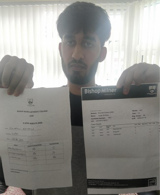 Ismail Khan with the results he was predicted by his teachers and the results he received from the exam board.