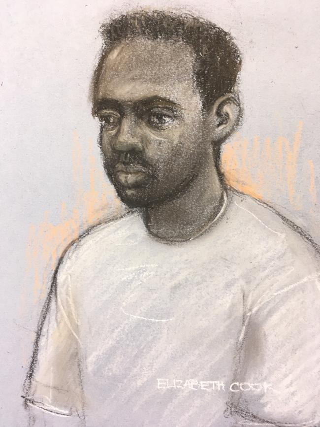 Court artist sketch by Elizabeth Cook of Zephaniah McLeod appearing by videolink at hearing at Birmingham Magistrates' Court where he is charged with the murder of Jacob Billington and attempted murder of seven others in a series of knife attacks in B