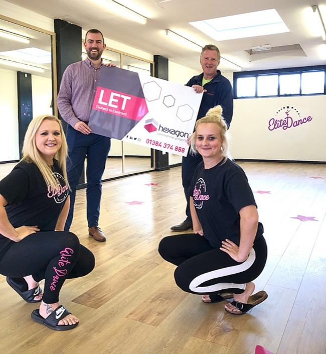 Left to right: Lucy White of Elite Dance Company, Chris Jeffries of Hexagon Commercial Property, Mark Stewardson of Stewardson Developments and Kelly Homer of Elite Dance Company.
