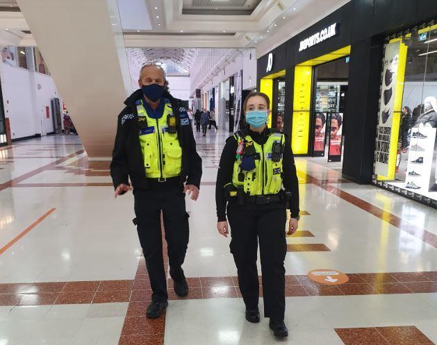 Police officers patrolling at intu Merry Hill. Pic - West Midlands Police