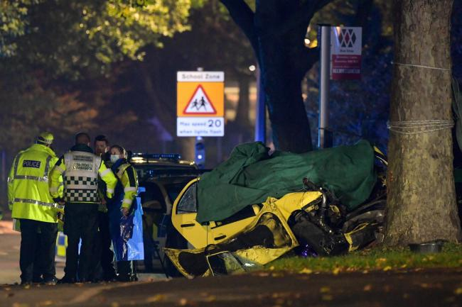 Police at the scene of the fatal crash in Bromley Lane, Kingswinford. Pic: @SnapperSK