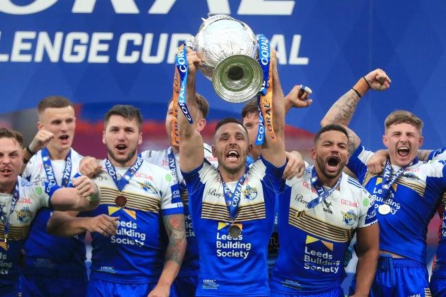 Leeds Rhinos' Luke Gale lifts the trophy
