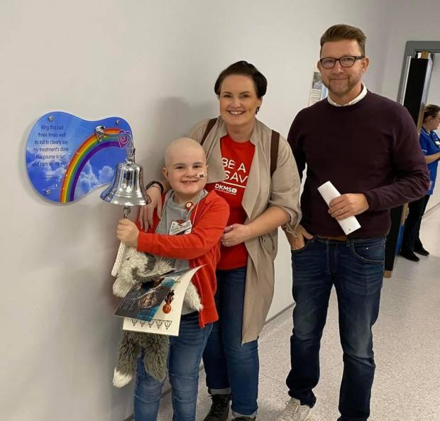 Stourbridge News: The Hill family after Finley rang the bell at Birmingham Children's Hospital to signify the end of his treatment earlier this year.