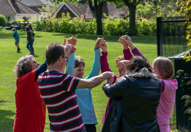 Stourbridge News: One of 'Merrie' Maggie's pre-Covid outdoor laughter yoga sessions