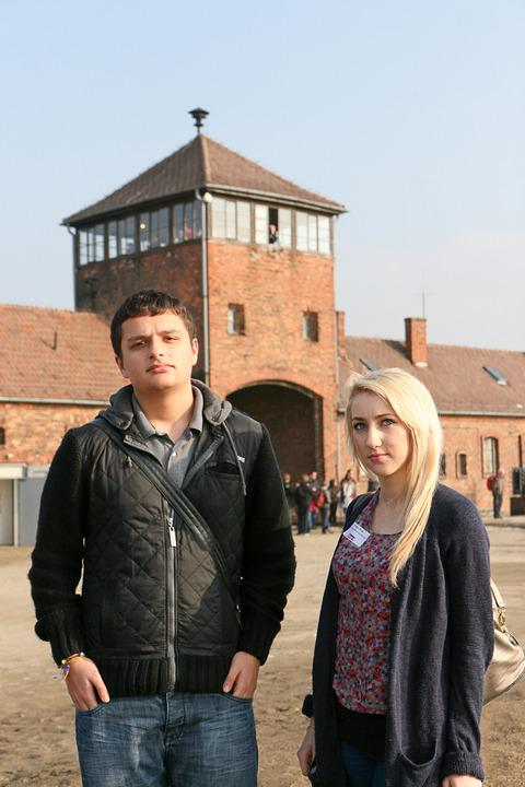 Habridge students Matt Sanghera and Maggie Rose at Birkenau. Pic by Yakir Zur.
