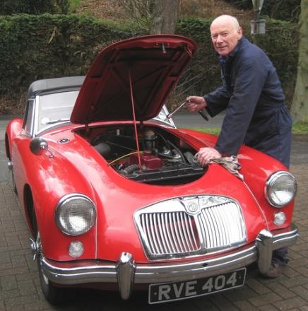 Revving up: Jonathan Clark with his classic1957 MGA Roadster that he will be driving in the Mac Classic event.
