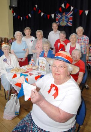 Frances Bloore with ladies from the Brierley Hill Methodist Church craft group who have created a bunting bonanaza