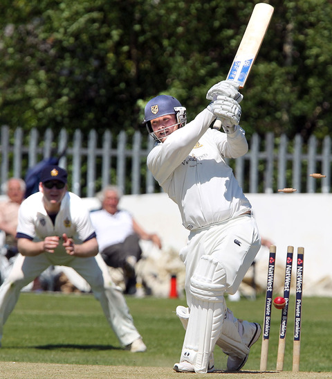 Kidderminster's Andrew Kimberlin is clean bowled on Saturday