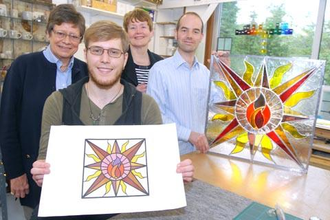 Left to right - Meriel Harris - Stourbridge DFAS chairman, designer Alex Timbrell, Stourbridge DFAS Young Arts representative Ann Norgate, Paul Floyd of Transparent Glass at Ruskin Glass Centre. Buy photo: 291226M