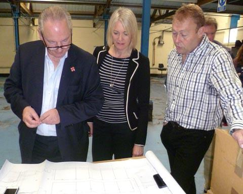 Francis Maude and Margot James check out plans for a new enterprise hub at Base Studios with Warren Evans