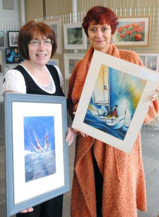 Artists Hazel Gillard and Pascal Bigot with work on display at the Hagley Art Club exhibition