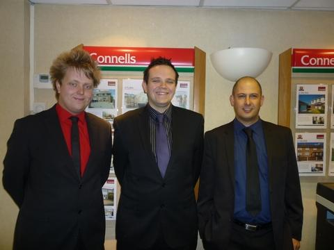 The successful team at Connells estate agency in Kidderminster, from left, Dave Towns, Tim Jewkes and Dan Moore.