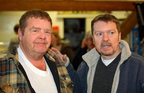 Geoffrey Hughes with Halesowen film-maker Kevin Powis.