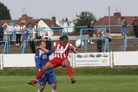Luke Benbow glances home Stourbridge's second goal against Halesowen PHOTO BY ANDREW ROPER