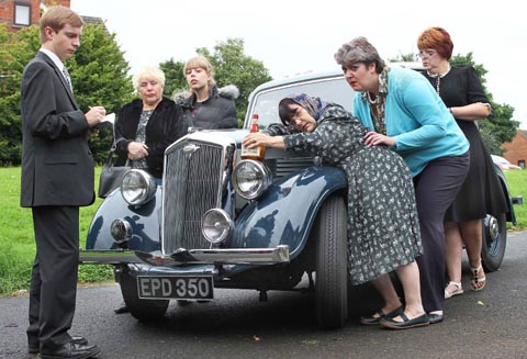 Left of car - Peter May as Angustus Grubb, Thelma Harper as Rose, Becky Randle as Grace; right of car - Diane Hardwick as Dorris, Chris Fereday as Marge and Tracy Riley as Lottie - getting set to star Caramba`s Revenge. Buy photo: 351215
