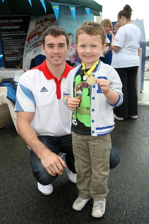 Kristian Thomas at Merry Hill with Alfie Darby, aged four, from Brierley Hill.